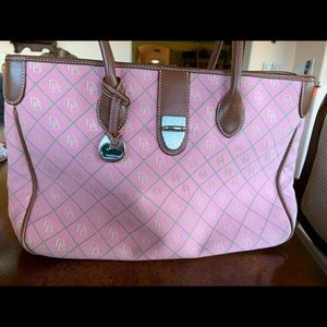 Dooney and Bourne pink and green diamond tote